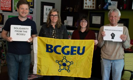 British Columbia Government and Service Employees' Union in support of the striking workers in Colombia